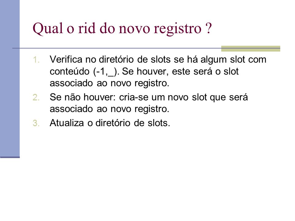 Qual o rid do novo registro