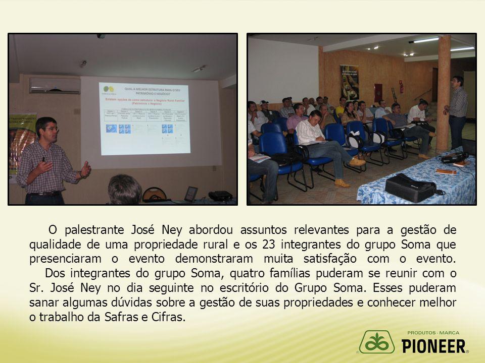 O palestrante José Ney abordou assuntos relevantes para a gestão de qualidade de uma propriedade rural e os 23 integrantes do grupo Soma que presenciaram o evento demonstraram muita satisfação com o evento.