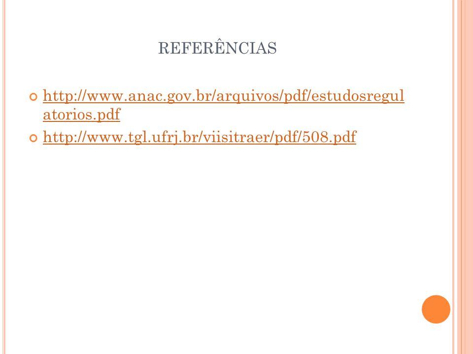REFERÊNCIAS http://www.anac.gov.br/arquivos/pdf/estudosregul atorios.pdf.