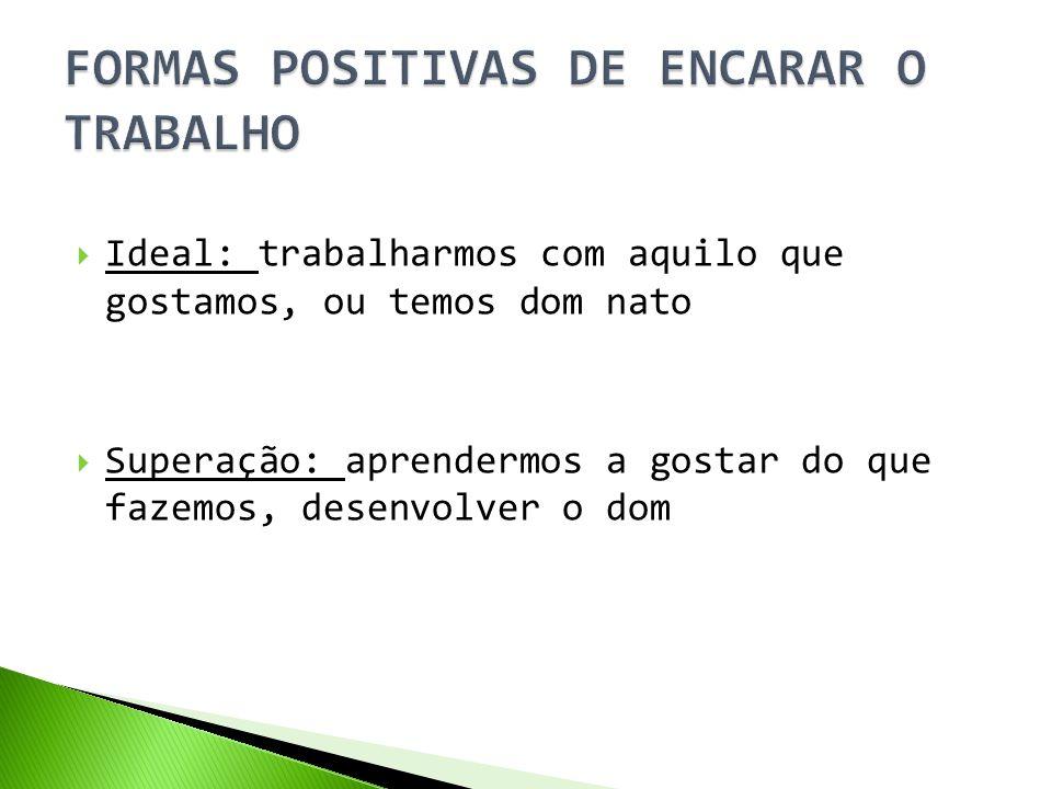 FORMAS POSITIVAS DE ENCARAR O TRABALHO