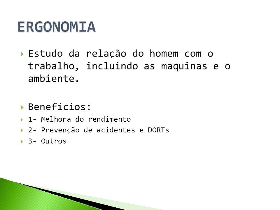 ERGONOMIA Estudo da relação do homem com o trabalho, incluindo as maquinas e o ambiente. Benefícios: