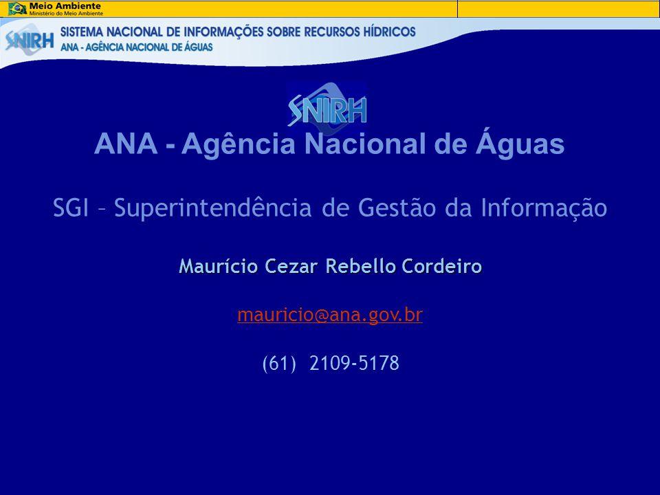 ANA - Agência Nacional de Águas SGI – Superintendência de Gestão da Informação Maurício Cezar Rebello Cordeiro mauricio@ana.gov.br (61) 2109-5178
