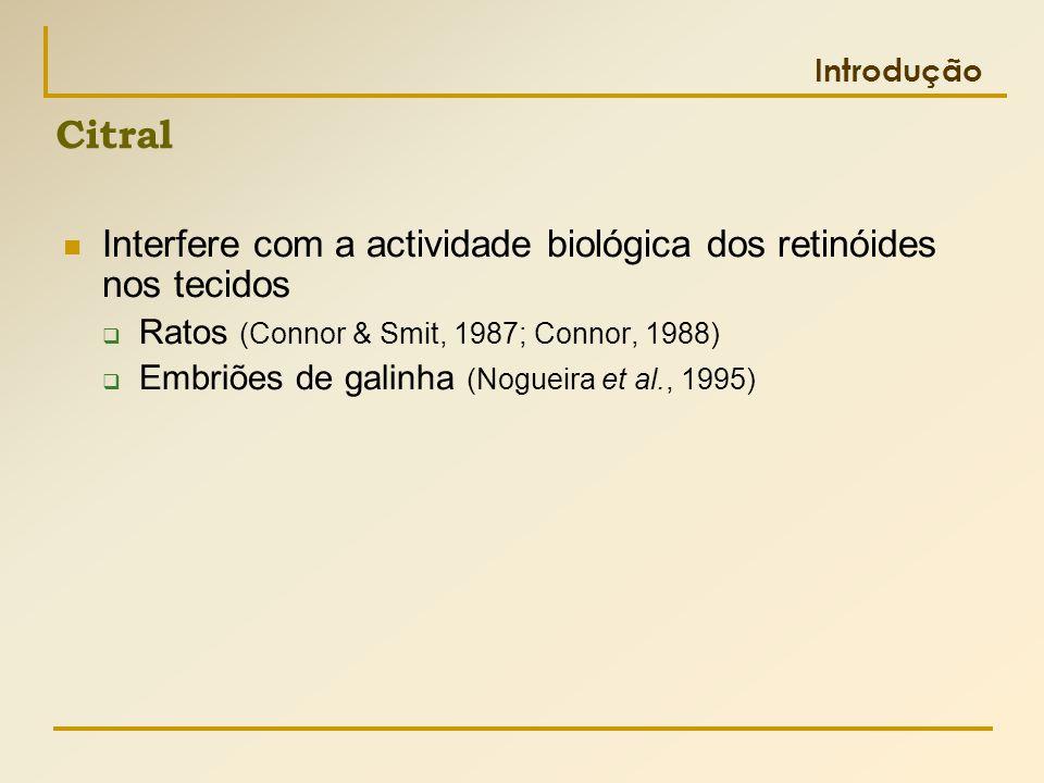 Citral Interfere com a actividade biológica dos retinóides nos tecidos