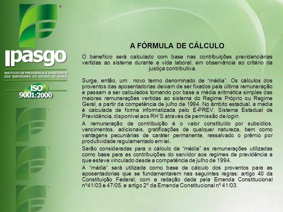 A FÓRMULA DE CÁLCULO