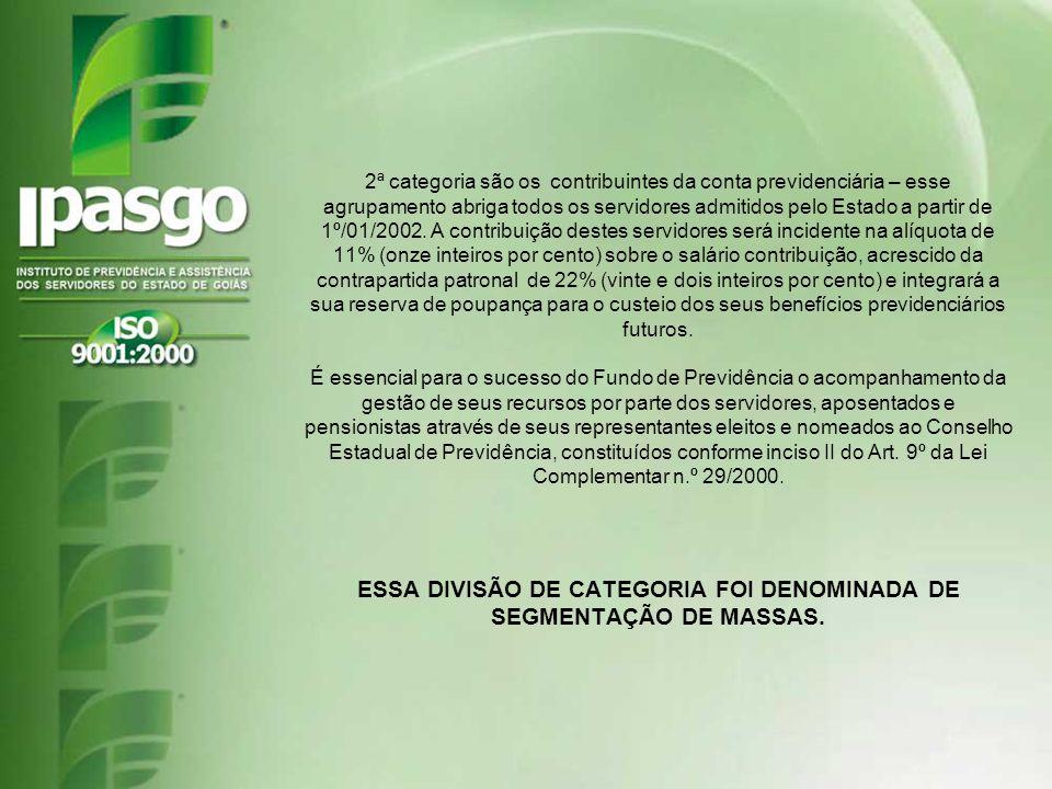 ESSA DIVISÃO DE CATEGORIA FOI DENOMINADA DE SEGMENTAÇÃO DE MASSAS.