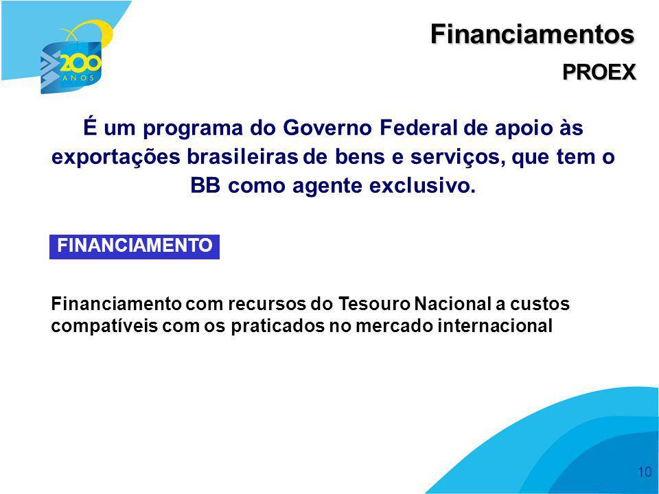 Financiamentos PROEX. É um programa do Governo Federal de apoio às exportações brasileiras de bens e serviços, que tem o BB como agente exclusivo.