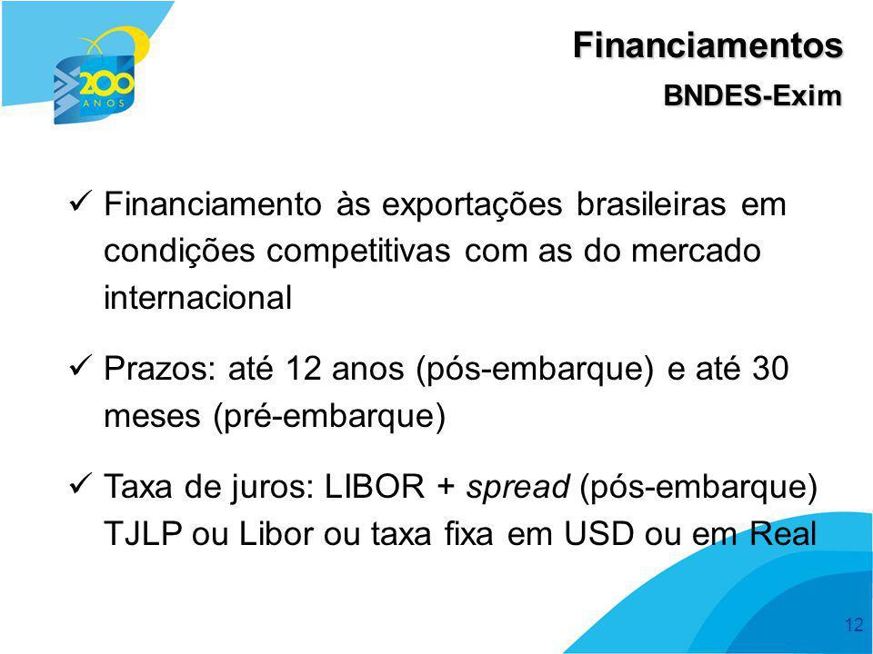 Financiamentos BNDES-Exim. Financiamento às exportações brasileiras em condições competitivas com as do mercado internacional.