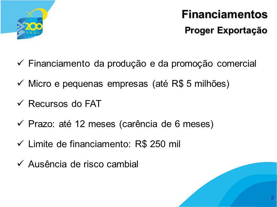 Financiamentos Financiamento da produção e da promoção comercial
