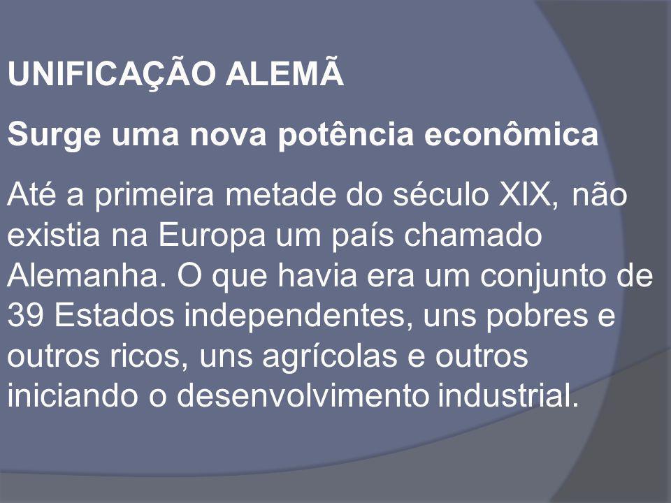 UNIFICAÇÃO ALEMÃ Surge uma nova potência econômica.