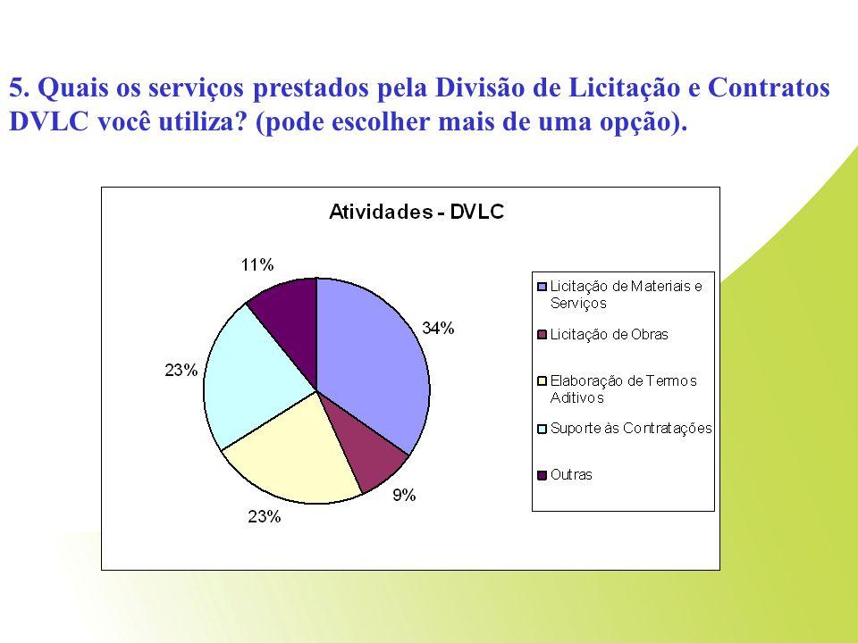 5. Quais os serviços prestados pela Divisão de Licitação e Contratos