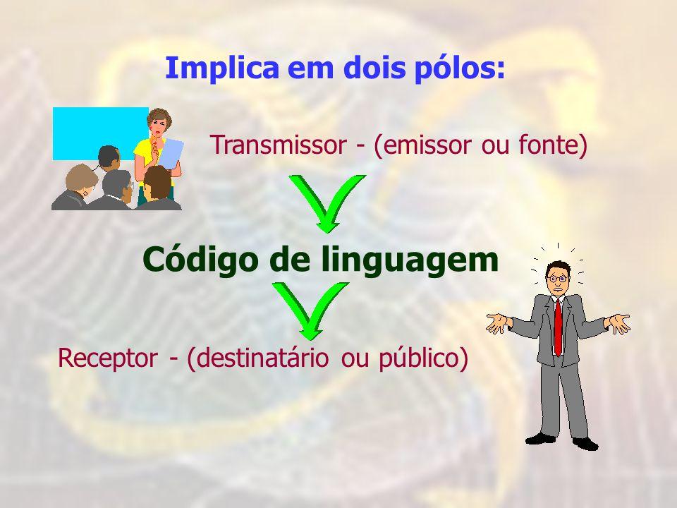 Código de linguagem Implica em dois pólos: