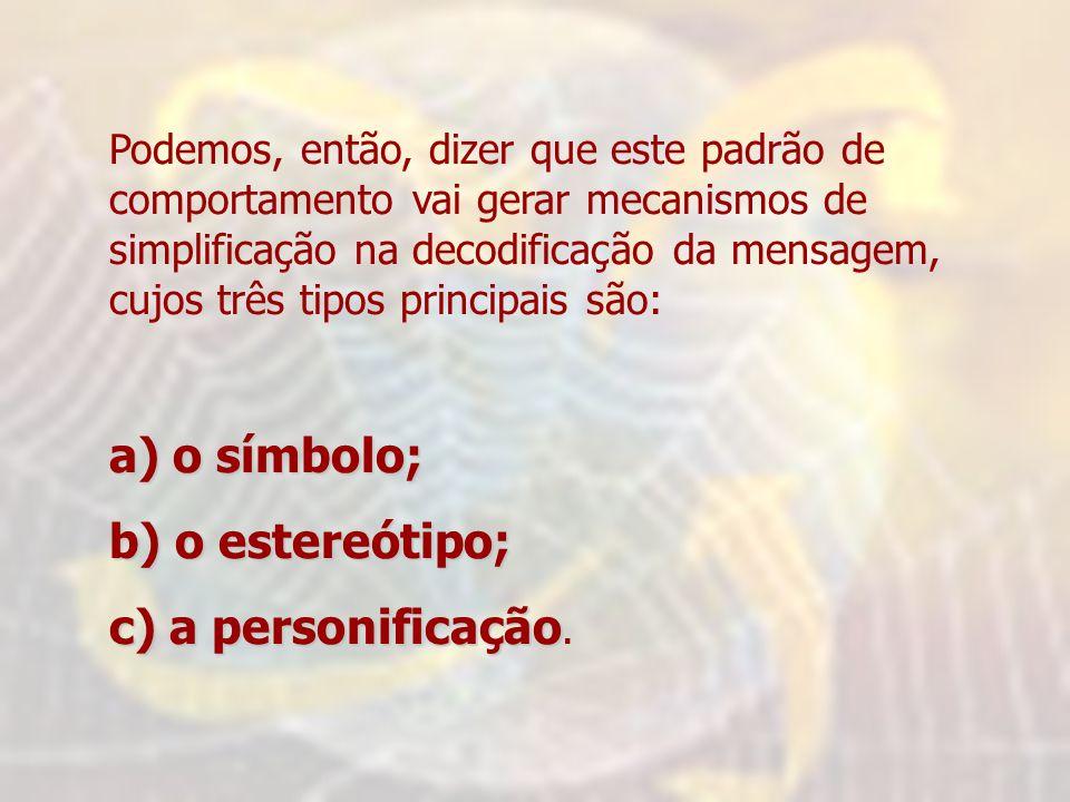 a) o símbolo; b) o estereótipo; c) a personificação.