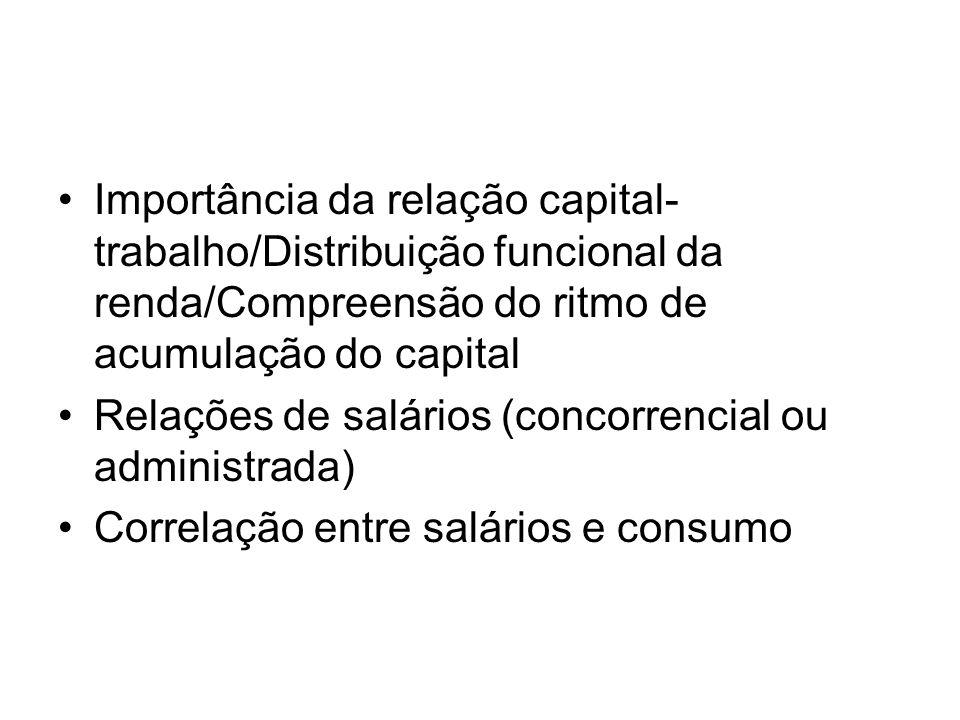 Importância da relação capital-trabalho/Distribuição funcional da renda/Compreensão do ritmo de acumulação do capital