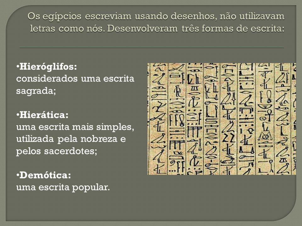 Os egípcios escreviam usando desenhos, não utilizavam letras como nós
