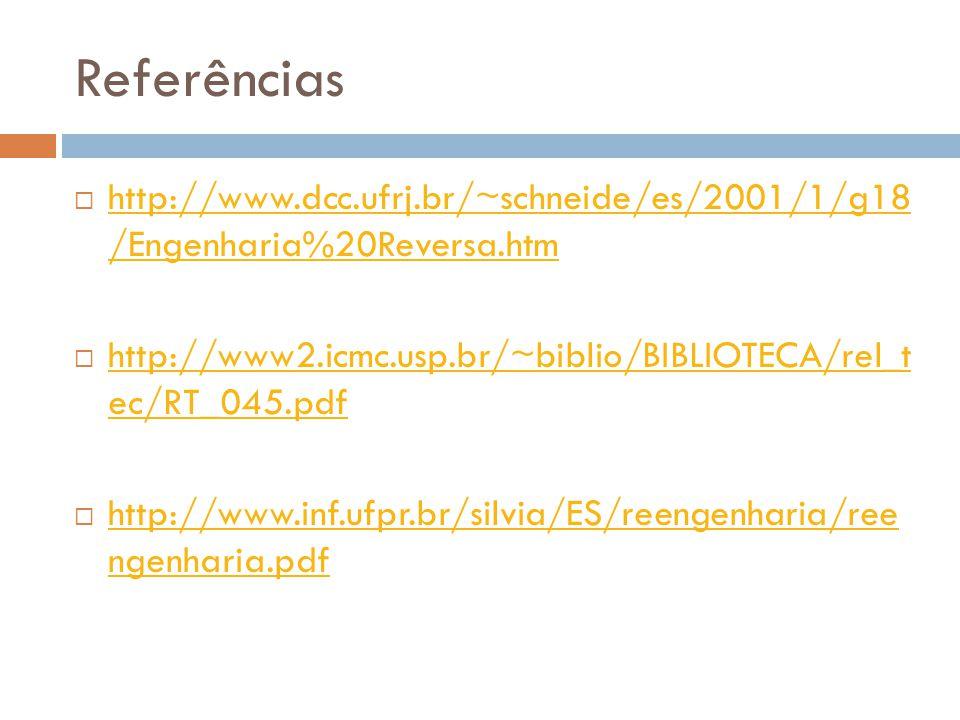 Referências http://www.dcc.ufrj.br/~schneide/es/2001/1/g18 /Engenharia%20Reversa.htm. http://www2.icmc.usp.br/~biblio/BIBLIOTECA/rel_t ec/RT_045.pdf.