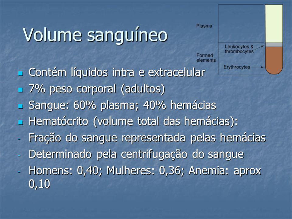 Volume sanguíneo Contém líquidos intra e extracelular