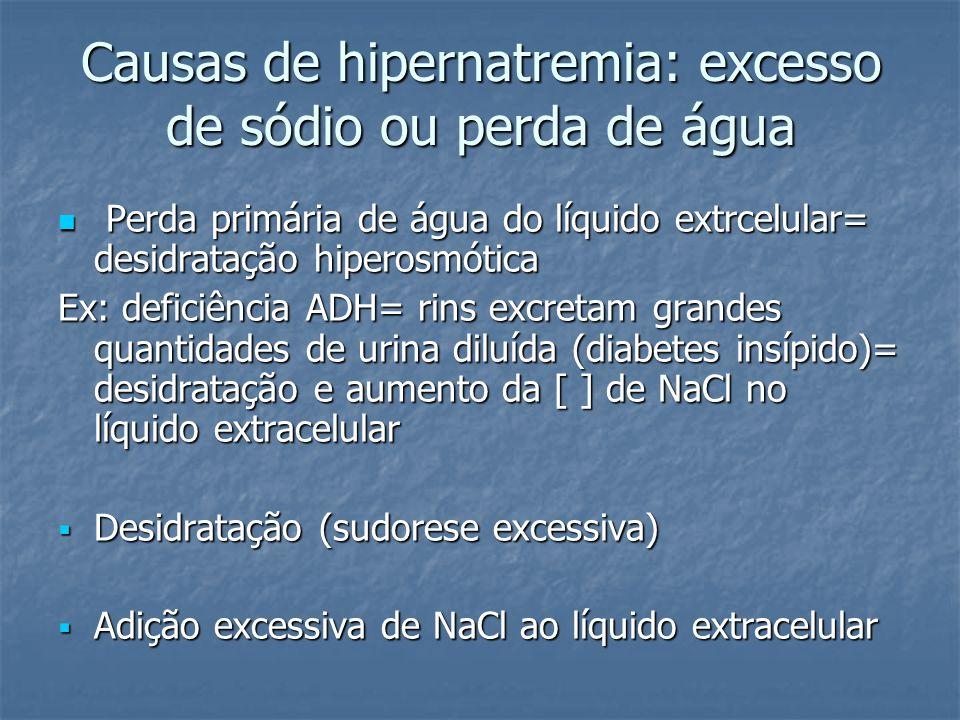 Causas de hipernatremia: excesso de sódio ou perda de água