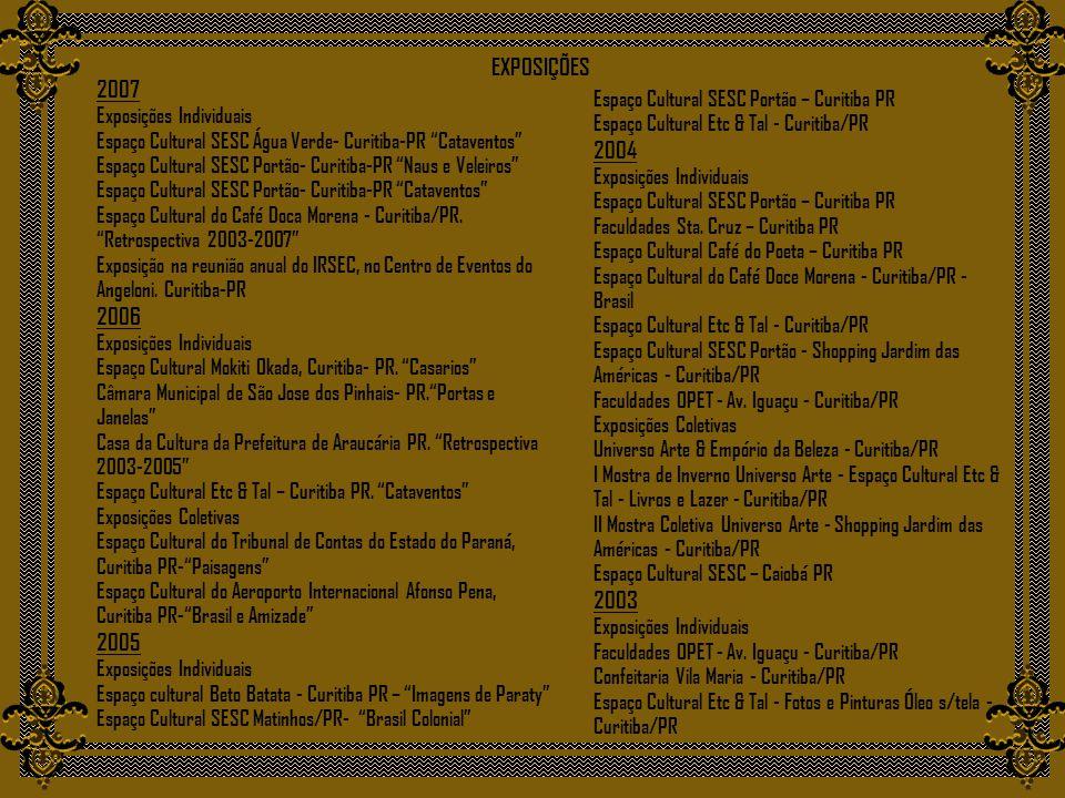 EXPOSIÇÕES 2007 2004 2006 2003 2005 Exposições Individuais