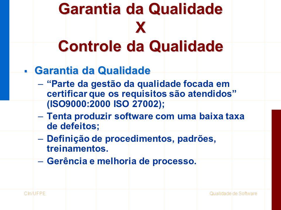 Garantia da Qualidade X Controle da Qualidade