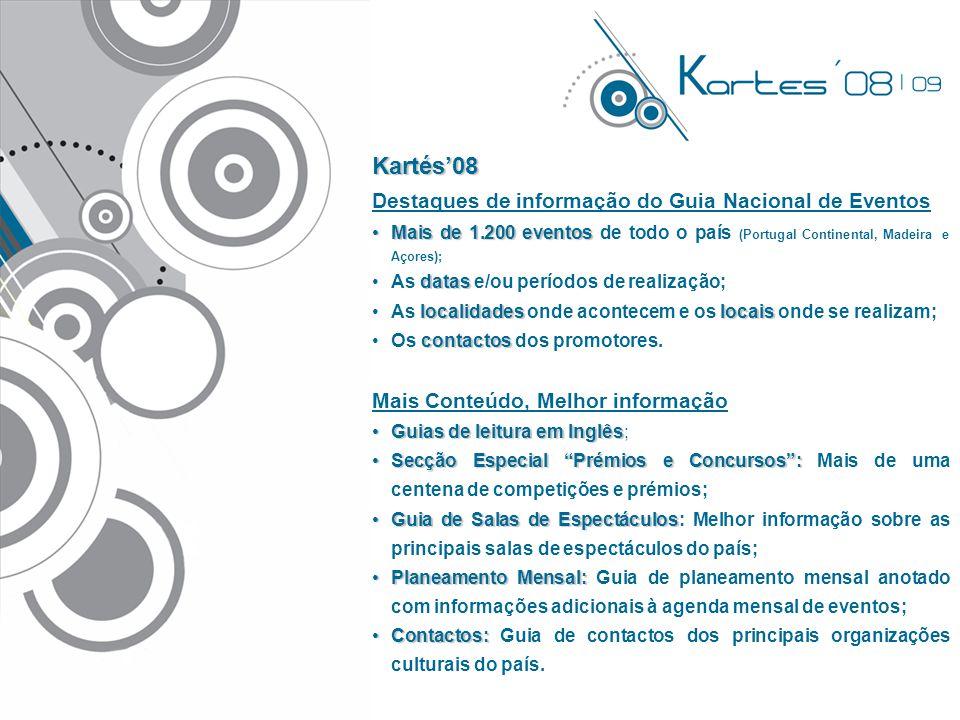 Kartés'08 Destaques de informação do Guia Nacional de Eventos