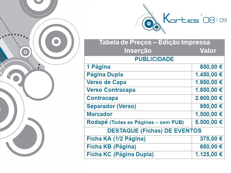 Tabela de Preços – Edição Impressa DESTAQUE (Fichas) DE EVENTOS