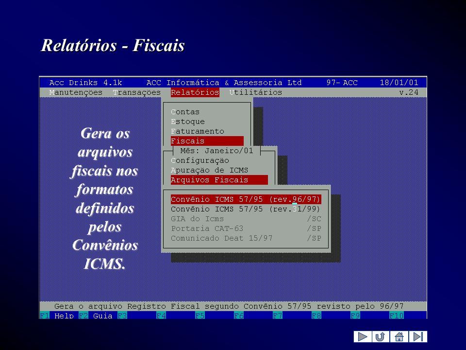 Gera os arquivos fiscais nos formatos definidos pelos Convênios ICMS.