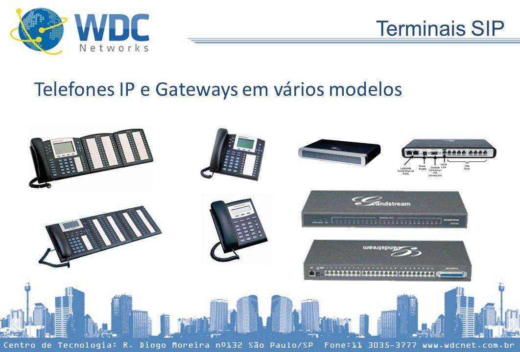 Terminais SIP Telefones IP e Gateways em vários modelos