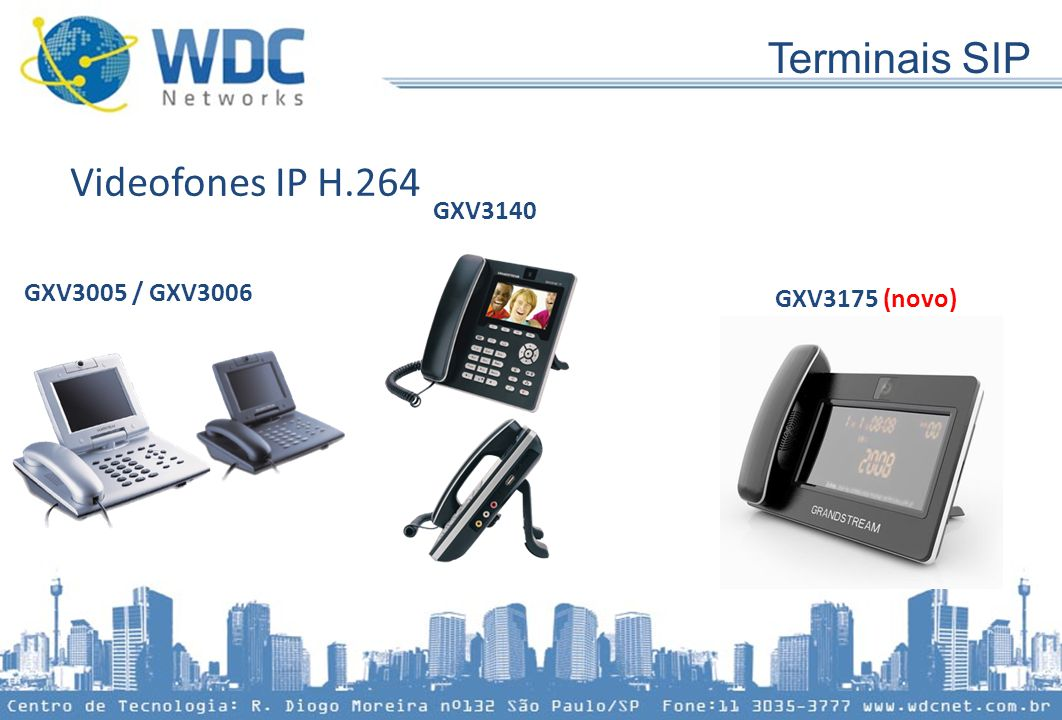 Terminais SIP Videofones IP H.264 GXV3140 GXV3005 / GXV3006