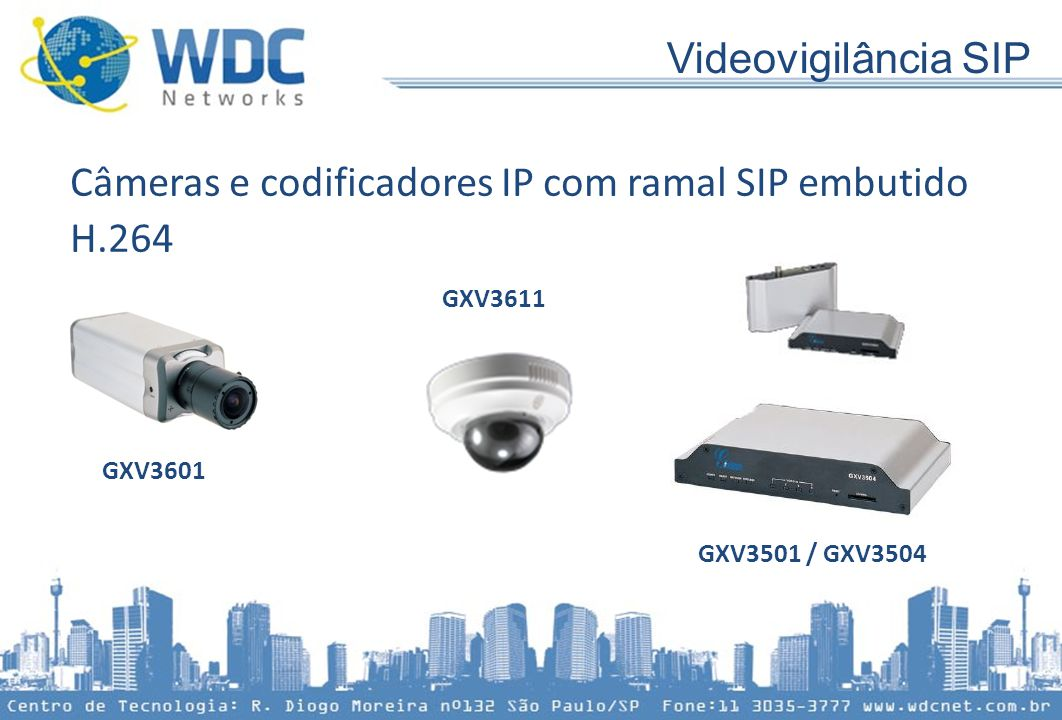 Câmeras e codificadores IP com ramal SIP embutido H.264