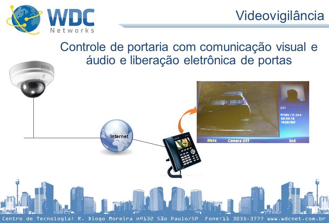 Videovigilância Controle de portaria com comunicação visual e áudio e liberação eletrônica de portas.