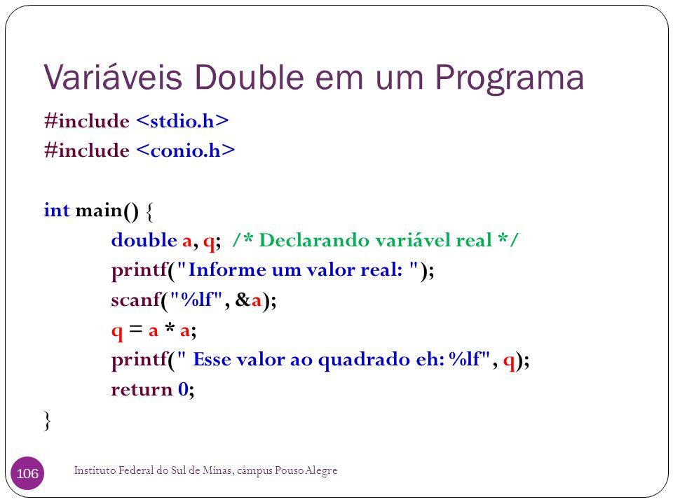 Variáveis Double em um Programa