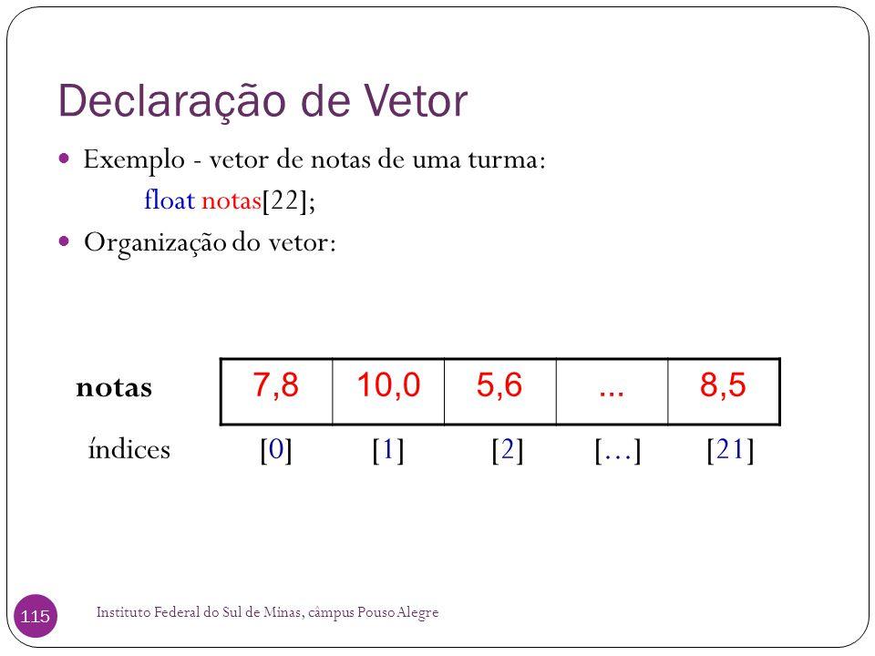 Declaração de Vetor notas 7,8 10,0 5,6 ... 8,5