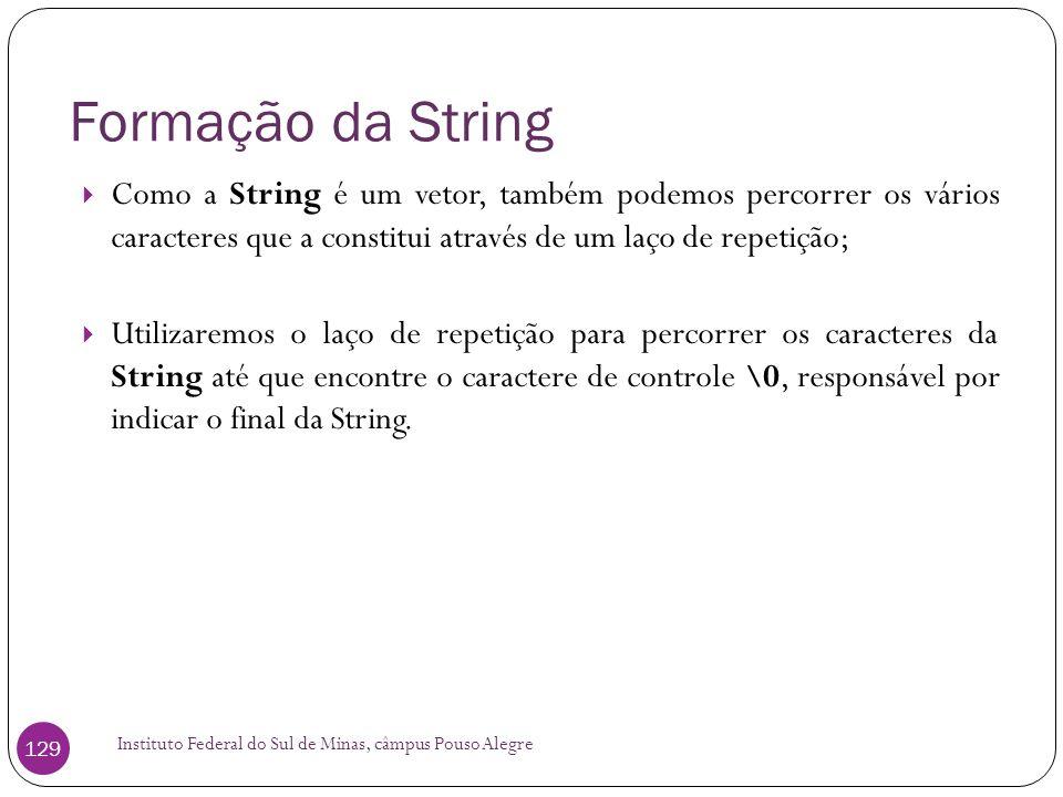 Formação da String Como a String é um vetor, também podemos percorrer os vários caracteres que a constitui através de um laço de repetição;