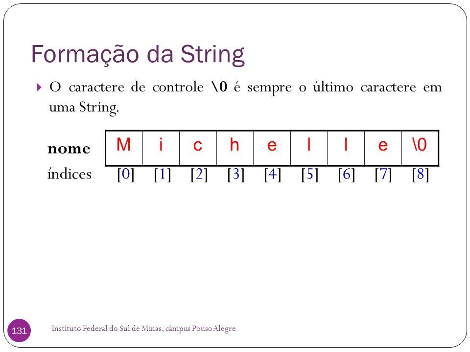 Formação da String M i c h e l \0 nome