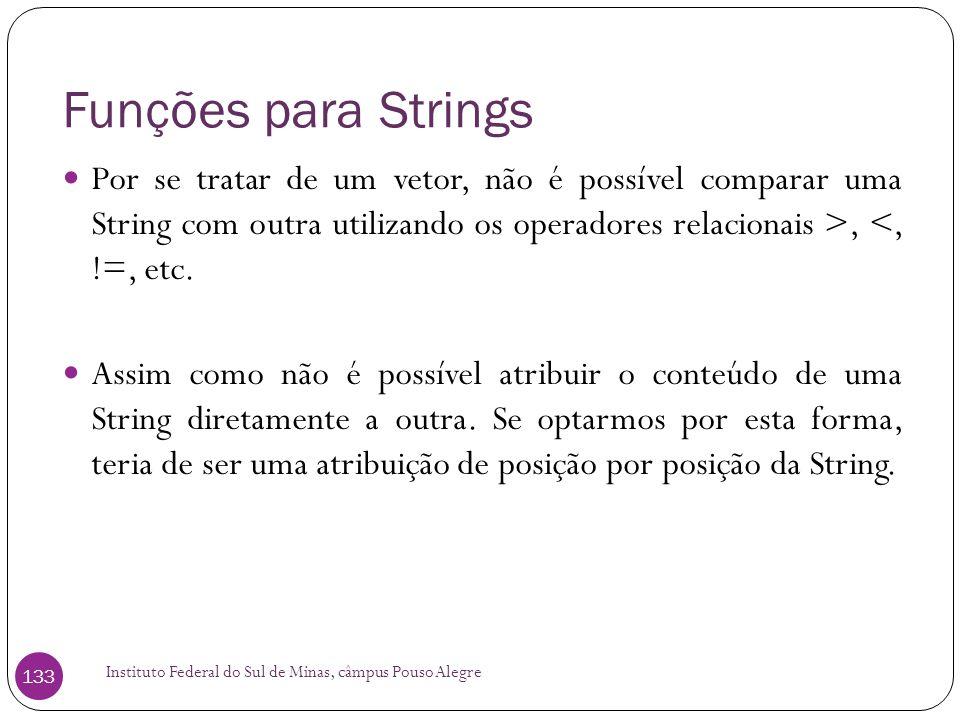 Funções para Strings Por se tratar de um vetor, não é possível comparar uma String com outra utilizando os operadores relacionais >, <, !=, etc.