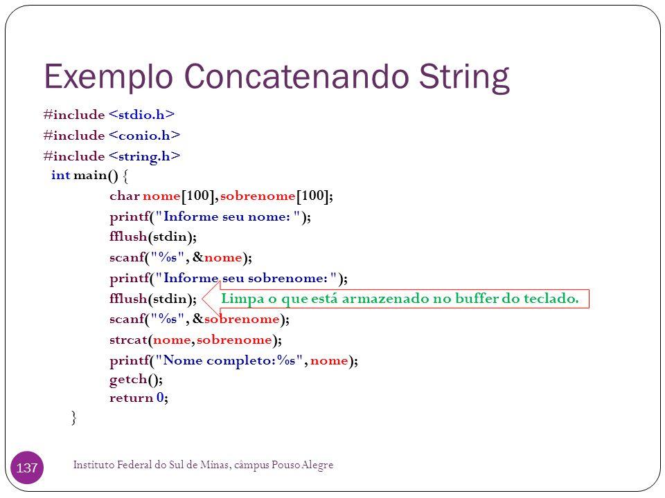 Exemplo Concatenando String