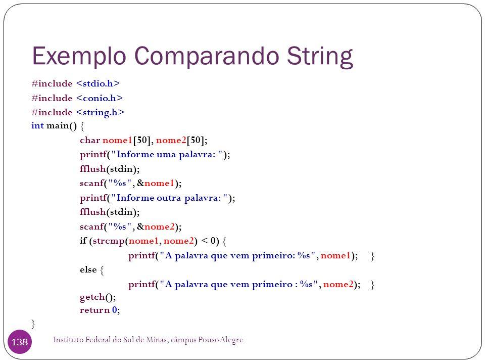 Exemplo Comparando String