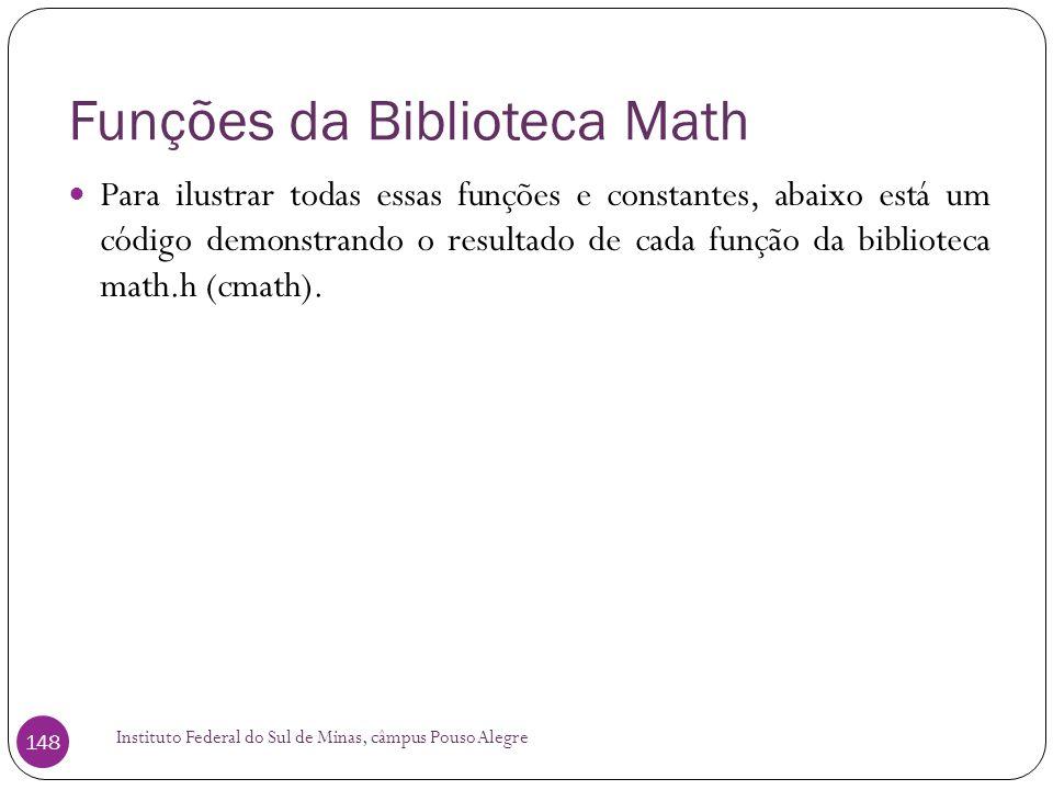 Funções da Biblioteca Math