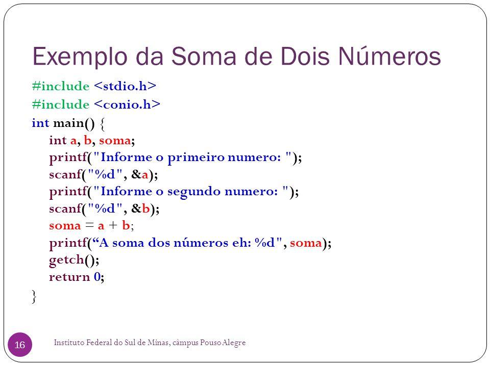 Exemplo da Soma de Dois Números