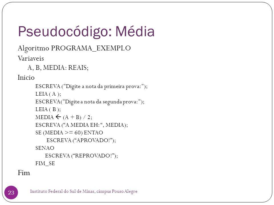 Pseudocódigo: Média Fim Algoritmo PROGRAMA_EXEMPLO Variaveis Inicio
