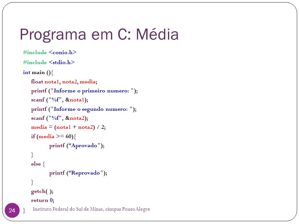 Programa em C: Média