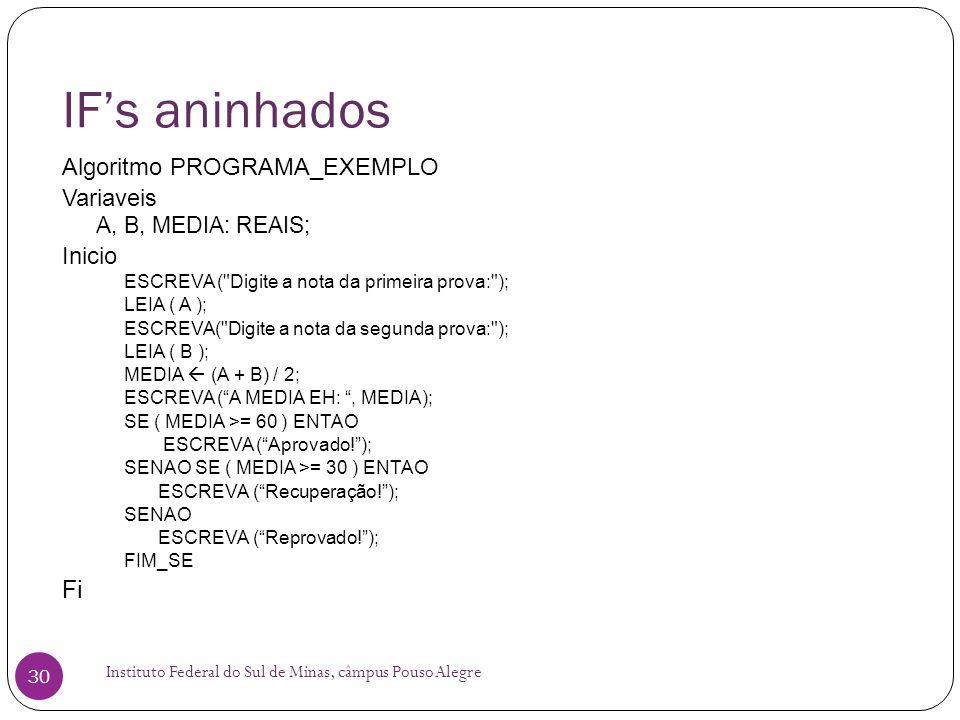 IF's aninhados Fi Algoritmo PROGRAMA_EXEMPLO Variaveis Inicio