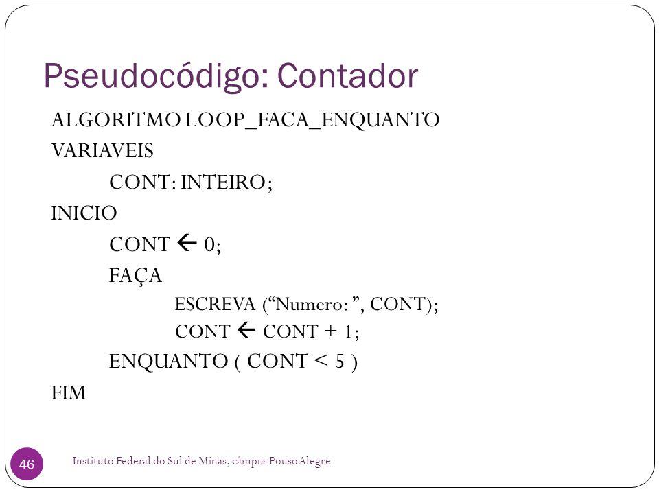 Pseudocódigo: Contador