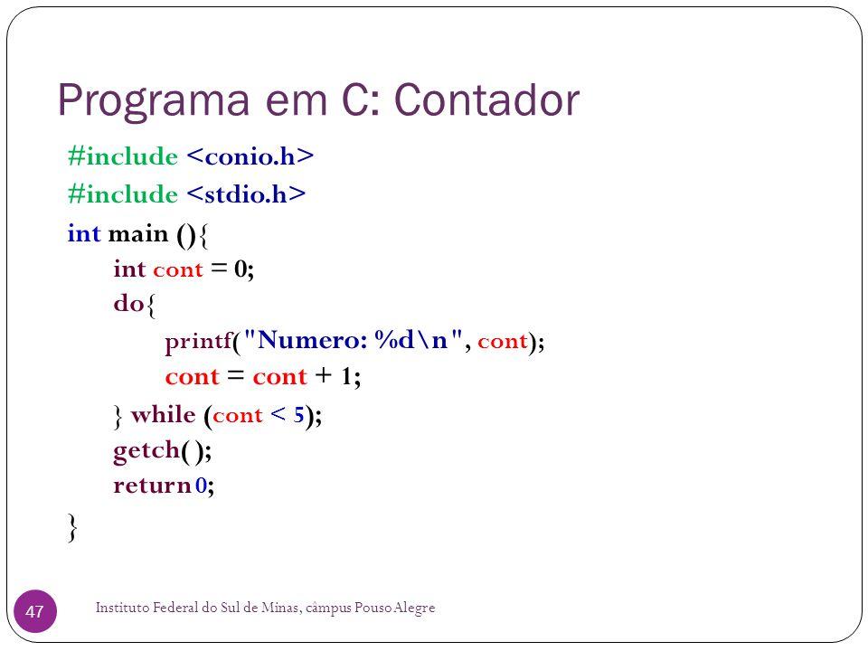 Programa em C: Contador
