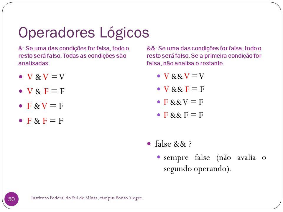 Operadores Lógicos V & V = V V & F = F F & V = F F & F = F false &&