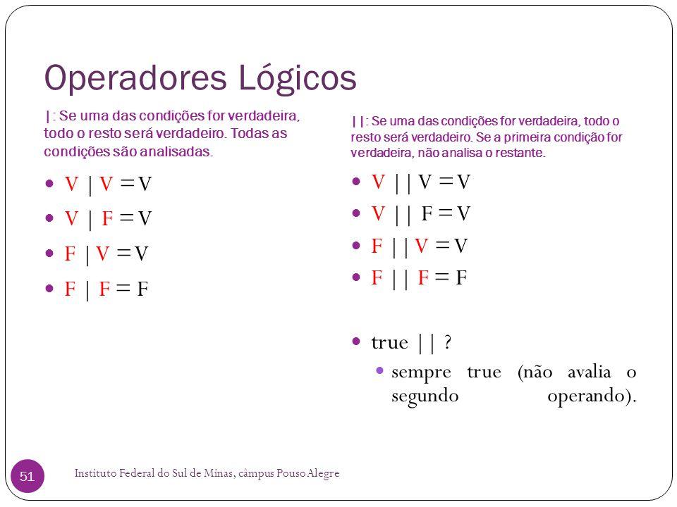 Operadores Lógicos V | V = V V | F = V F | V = V F | F = F V || V = V