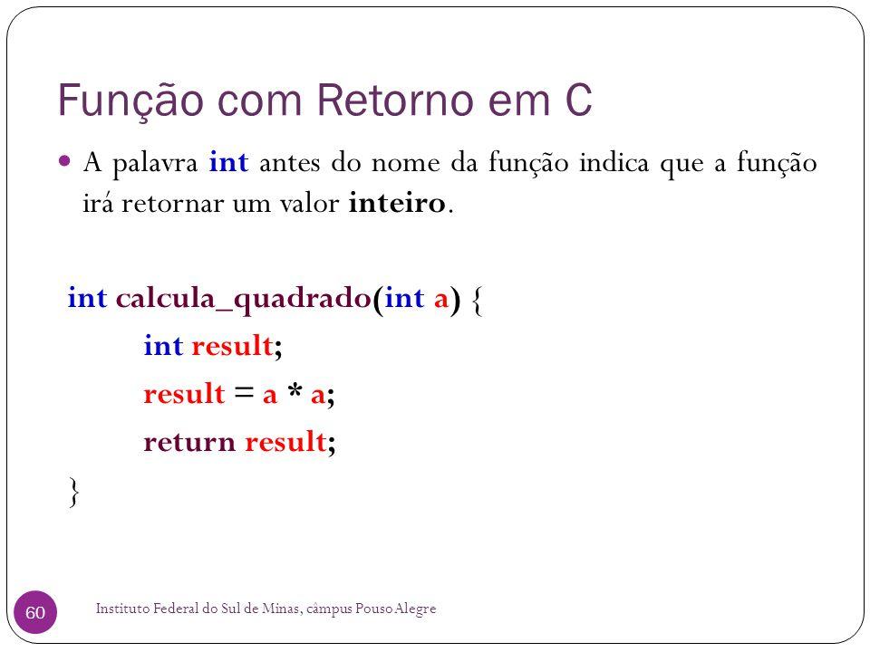 Função com Retorno em C A palavra int antes do nome da função indica que a função irá retornar um valor inteiro.