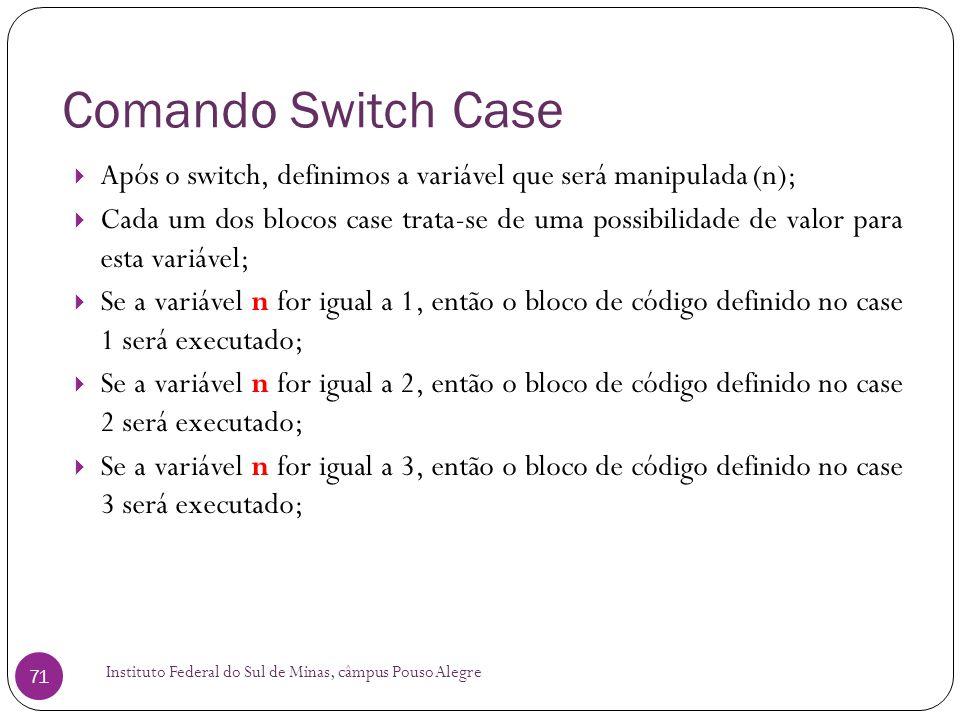 Comando Switch Case Após o switch, definimos a variável que será manipulada (n);