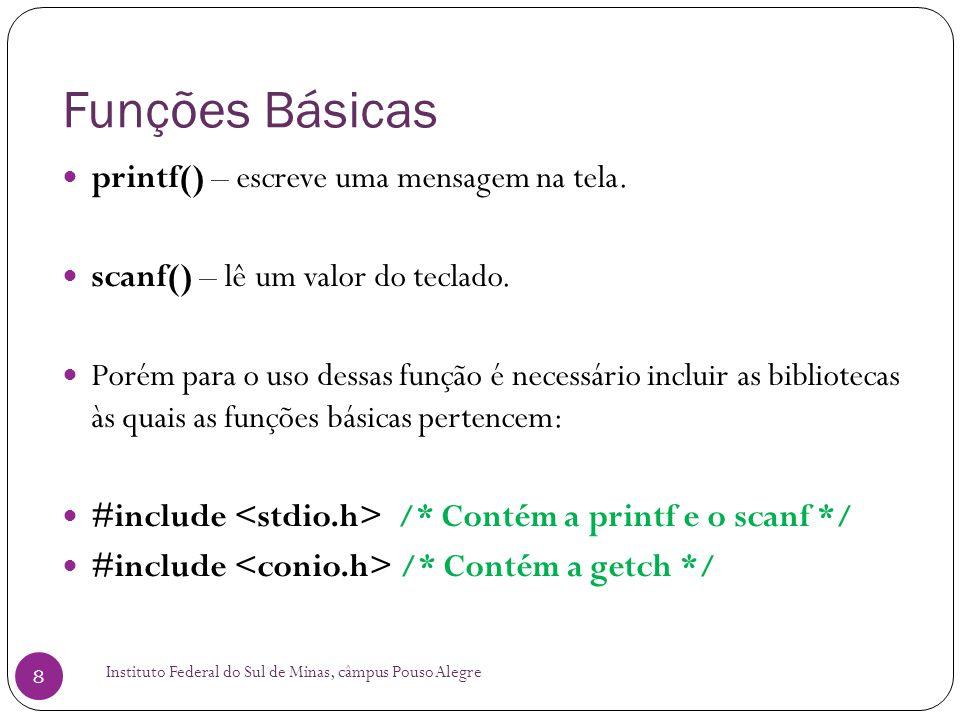 Funções Básicas printf() – escreve uma mensagem na tela.