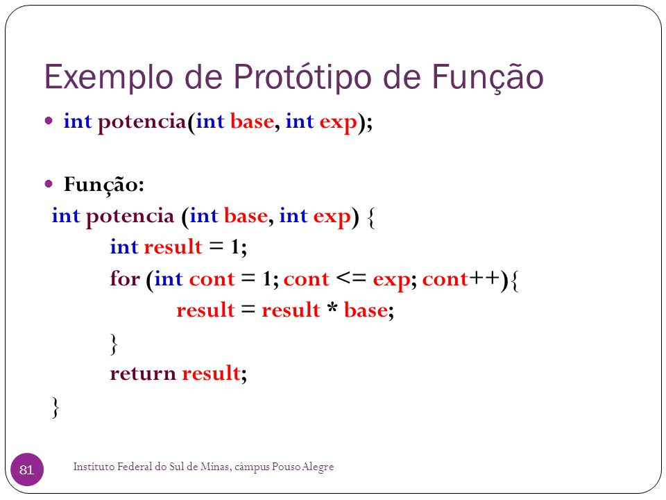 Exemplo de Protótipo de Função